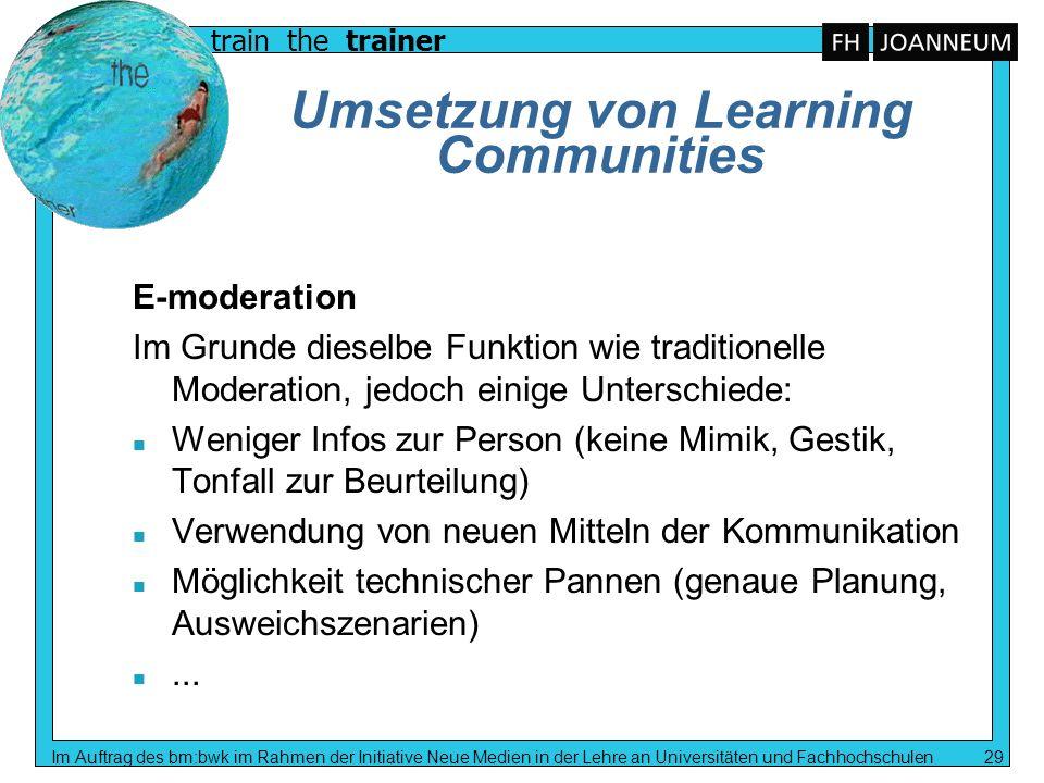 Umsetzung von Learning Communities