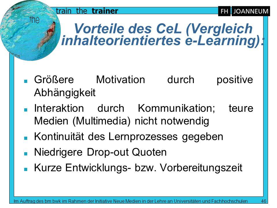 Vorteile des CeL (Vergleich inhalteorientiertes e-Learning):