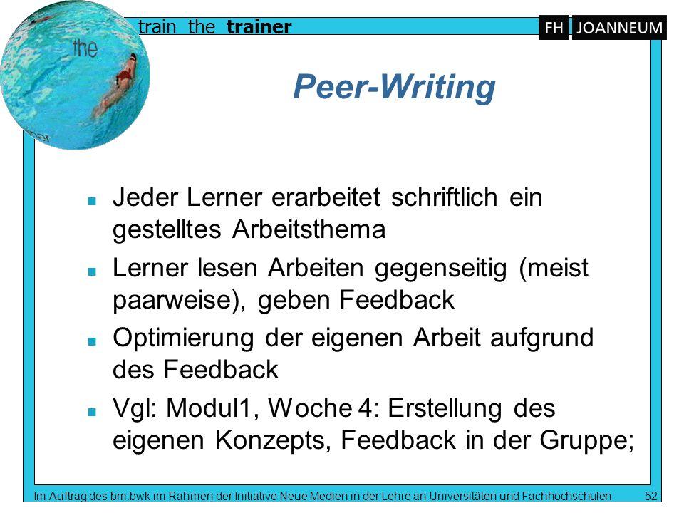 Peer-Writing Jeder Lerner erarbeitet schriftlich ein gestelltes Arbeitsthema. Lerner lesen Arbeiten gegenseitig (meist paarweise), geben Feedback.