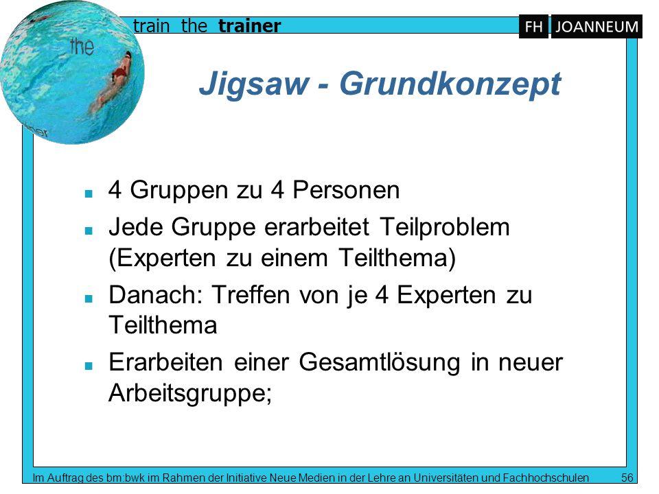 Jigsaw - Grundkonzept 4 Gruppen zu 4 Personen