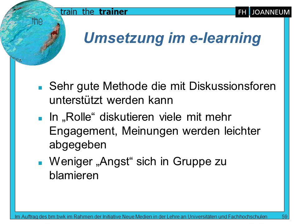 Umsetzung im e-learning