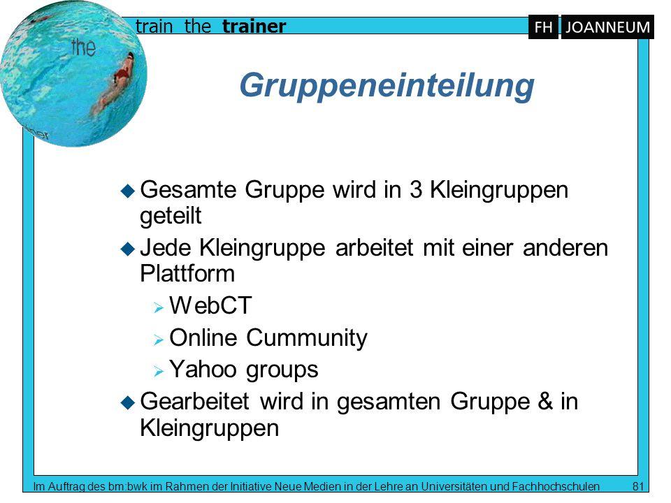 Gruppeneinteilung Gesamte Gruppe wird in 3 Kleingruppen geteilt