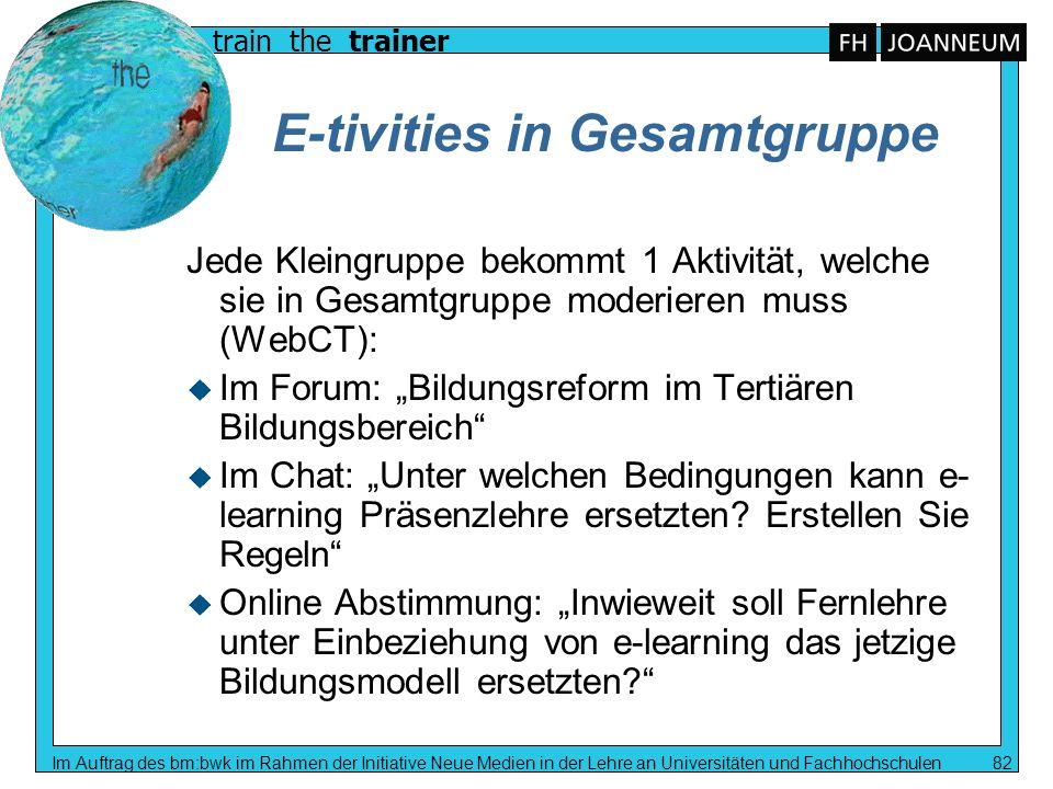 E-tivities in Gesamtgruppe
