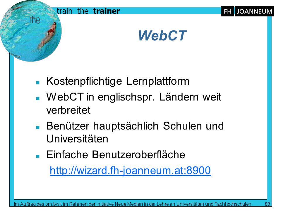 WebCT Kostenpflichtige Lernplattform