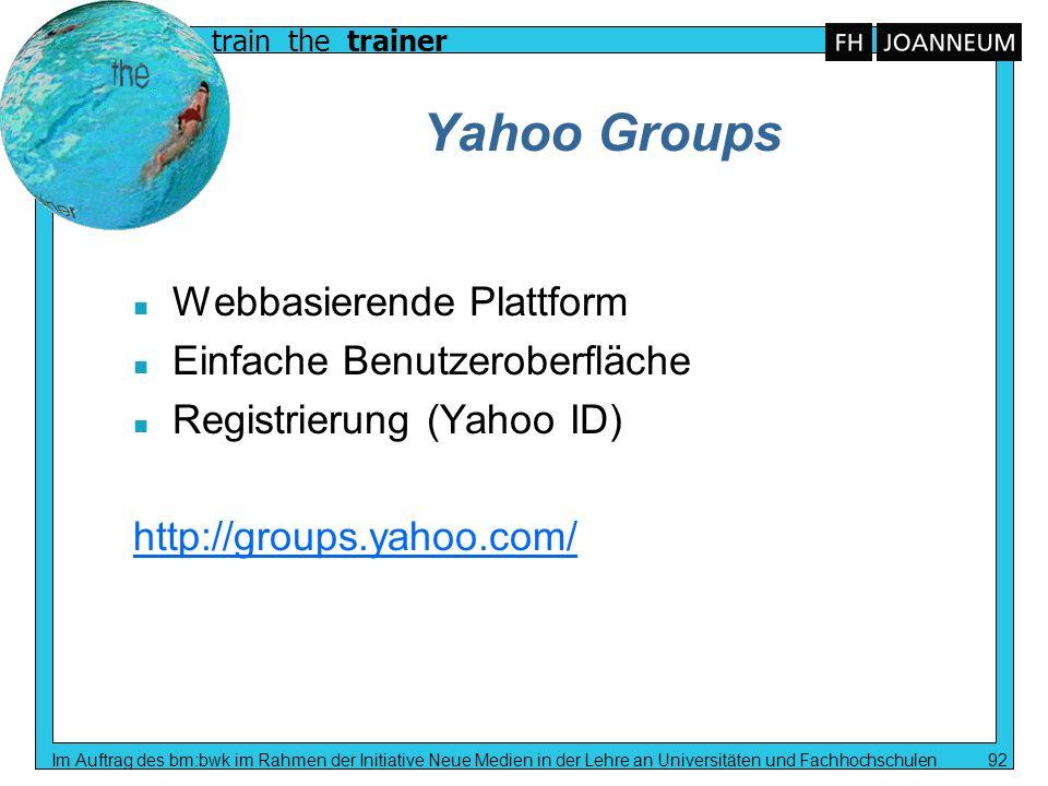 Yahoo Groups Webbasierende Plattform Einfache Benutzeroberfläche