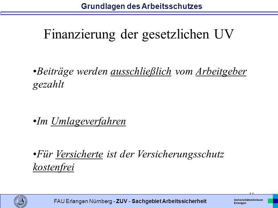 Finanzierung der gesetzlichen UV