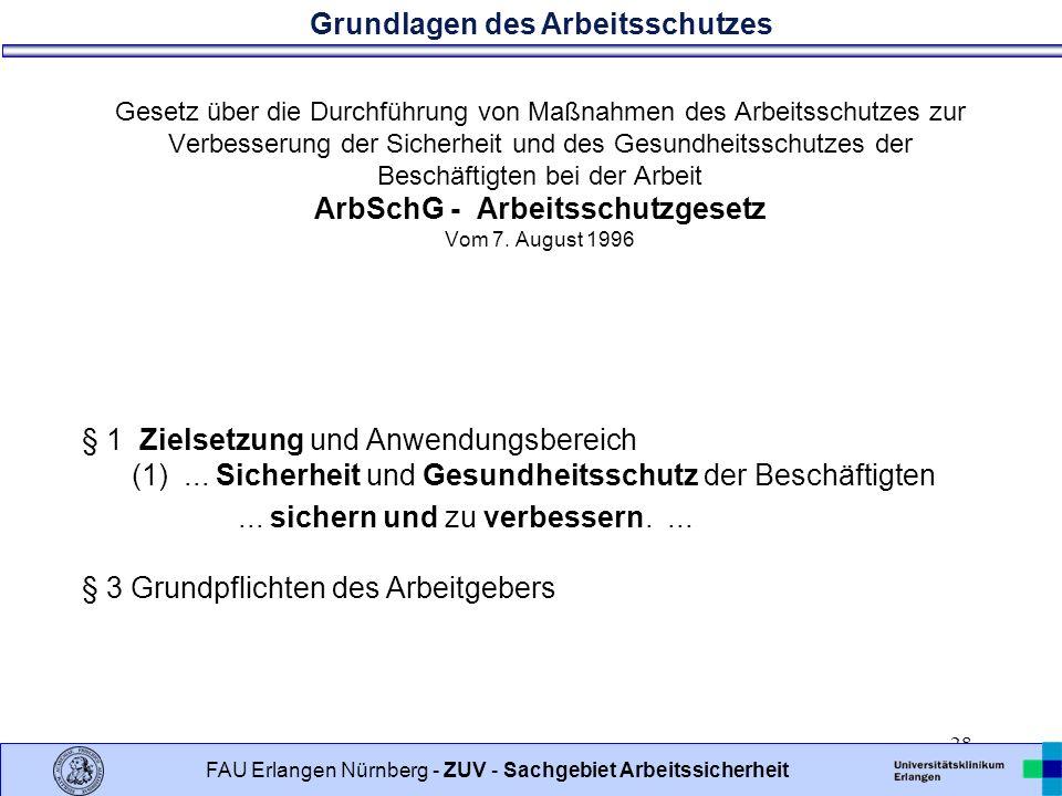 Gesetz über die Durchführung von Maßnahmen des Arbeitsschutzes zur Verbesserung der Sicherheit und des Gesundheitsschutzes der Beschäftigten bei der Arbeit ArbSchG - Arbeitsschutzgesetz Vom 7. August 1996