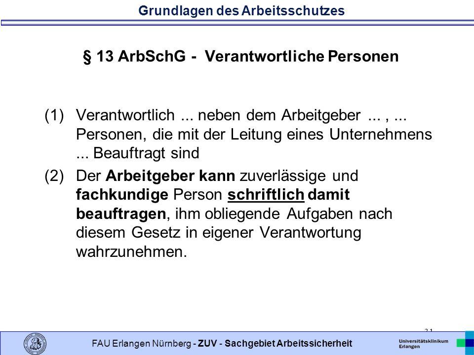 § 13 ArbSchG - Verantwortliche Personen