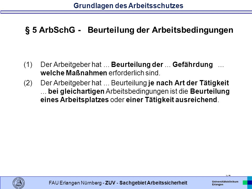 § 5 ArbSchG - Beurteilung der Arbeitsbedingungen