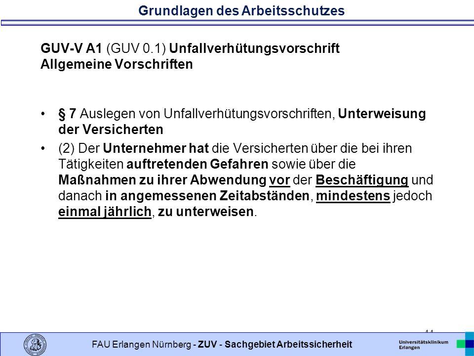 GUV-V A1 (GUV 0.1) Unfallverhütungsvorschrift Allgemeine Vorschriften