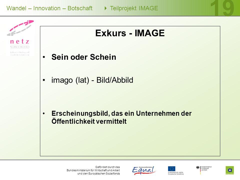 Exkurs - IMAGE Sein oder Schein imago (lat) - Bild/Abbild