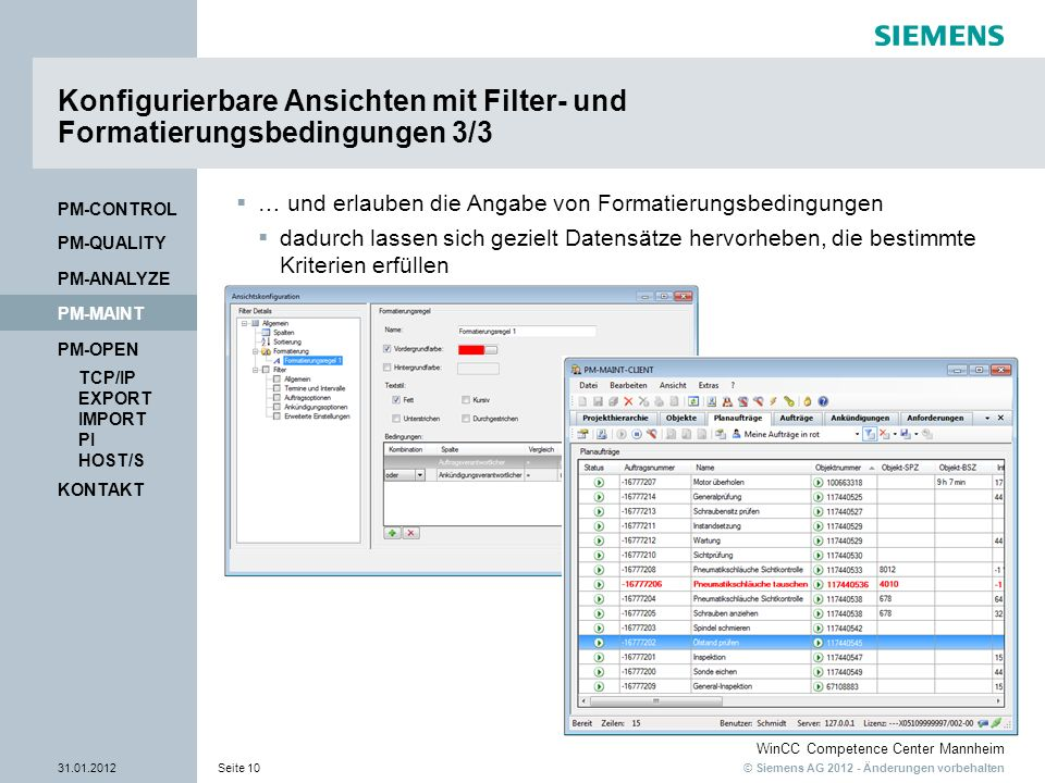 Konfigurierbare Ansichten mit Filter- und Formatierungsbedingungen 3/3