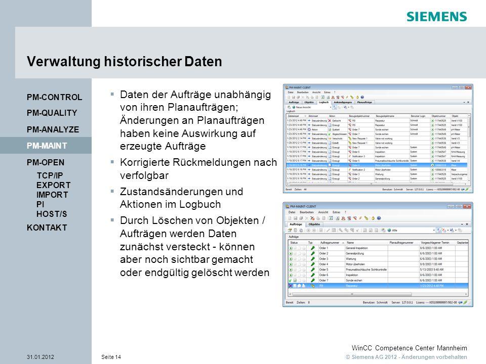 Verwaltung historischer Daten