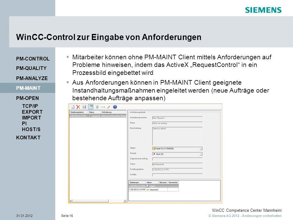 WinCC-Control zur Eingabe von Anforderungen