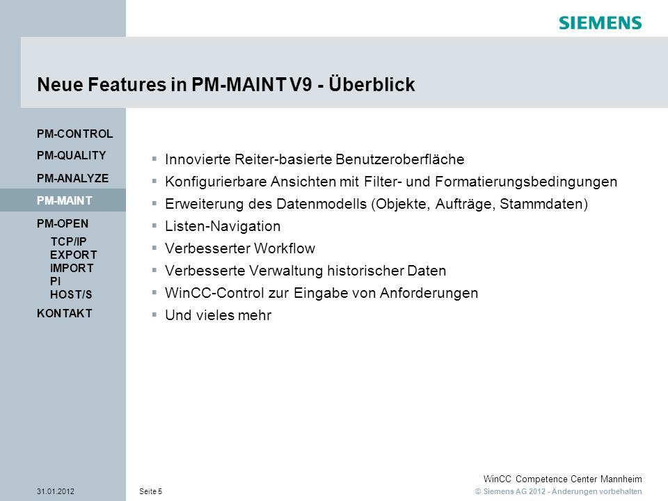 Neue Features in PM-MAINT V9 - Überblick