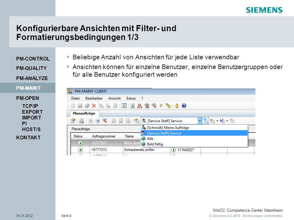 Konfigurierbare Ansichten mit Filter- und Formatierungsbedingungen 1/3