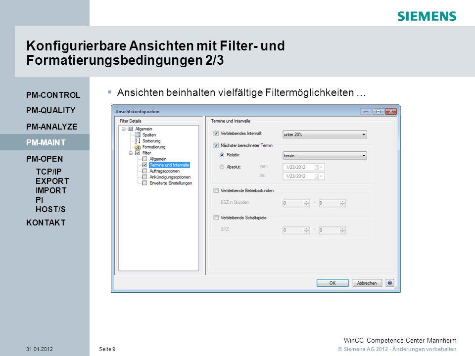 Konfigurierbare Ansichten mit Filter- und Formatierungsbedingungen 2/3