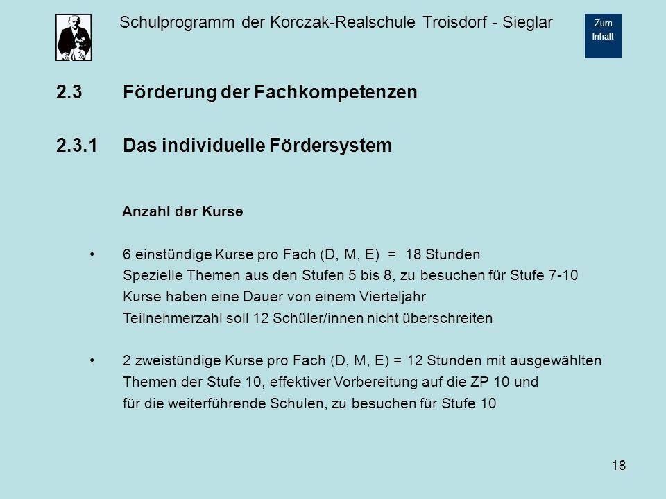 2.3 Förderung der Fachkompetenzen 2.3.1 Das individuelle Fördersystem