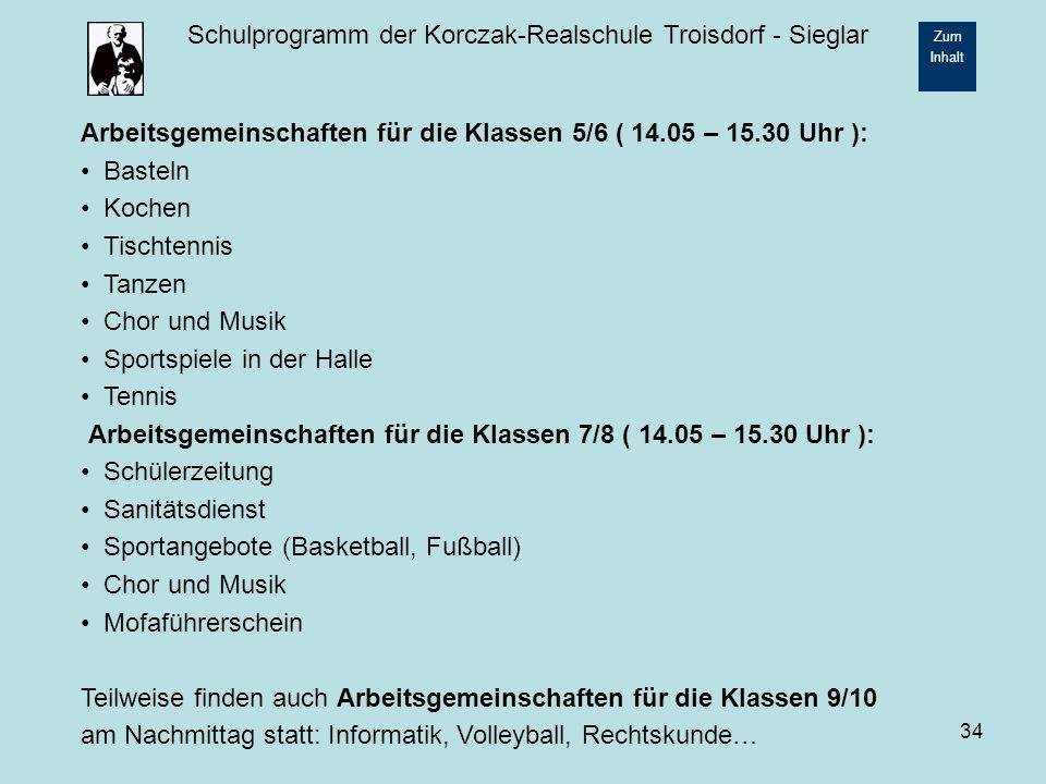 Arbeitsgemeinschaften für die Klassen 5/6 ( 14.05 – 15.30 Uhr ):