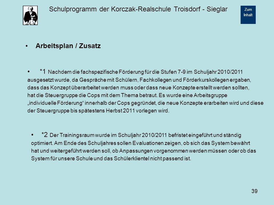Arbeitsplan / Zusatz *1 Nachdem die fachspezifische Förderung für die Stufen 7-9 im Schuljahr 2010/2011.