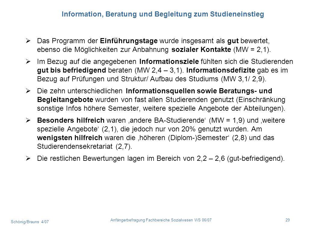 Information, Beratung und Begleitung zum Studieneinstieg