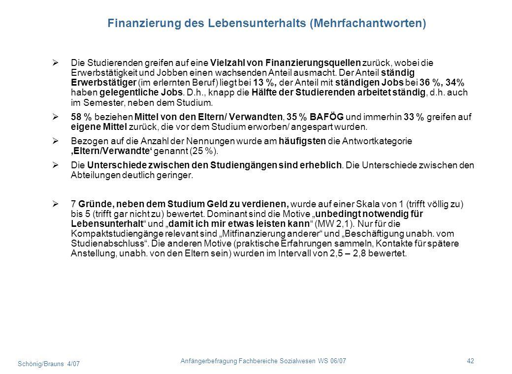 Finanzierung des Lebensunterhalts (Mehrfachantworten)