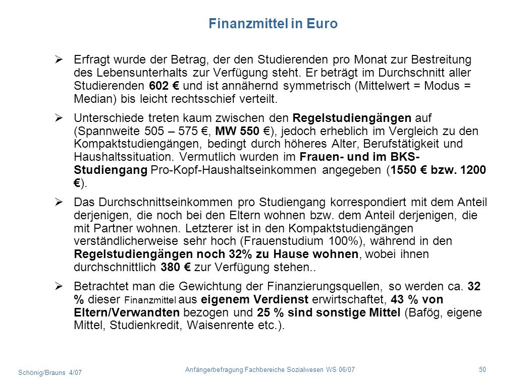 Finanzmittel in Euro