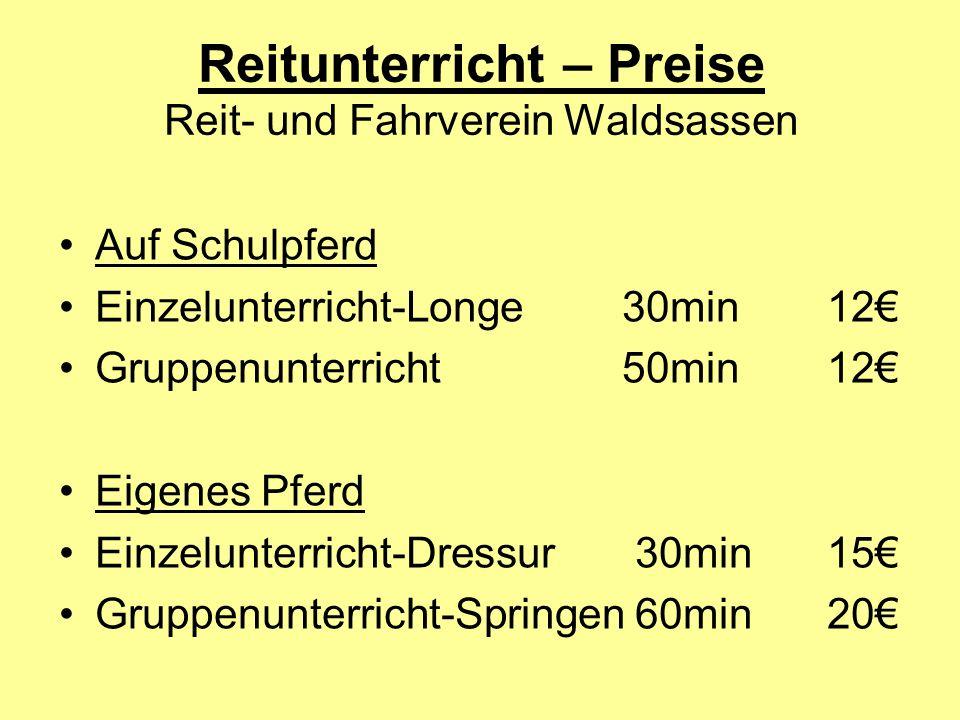 Reitunterricht – Preise Reit- und Fahrverein Waldsassen