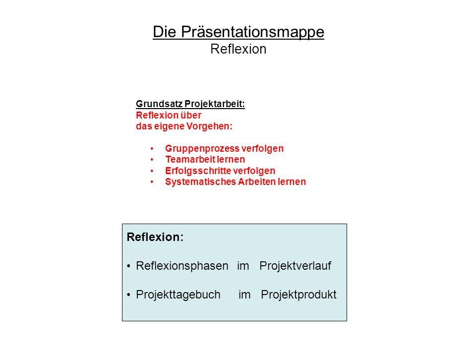 Die Präsentationsmappe Reflexion