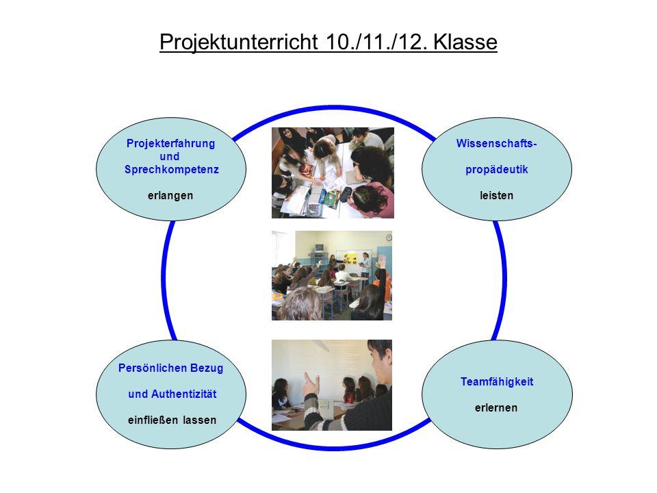 Projektunterricht 10./11./12. Klasse