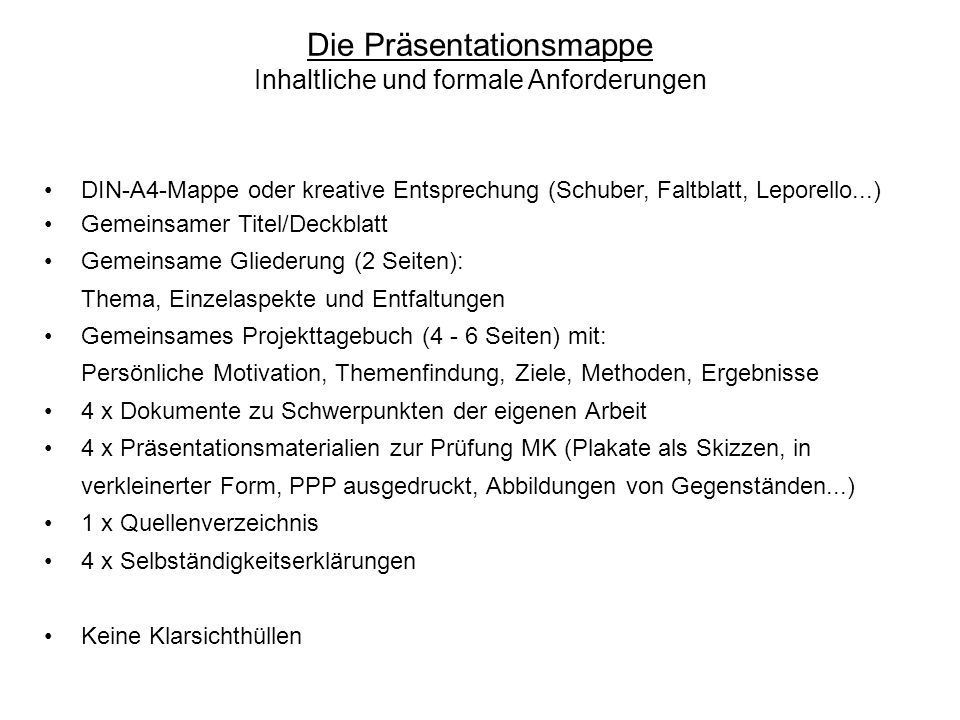 Die Präsentationsmappe