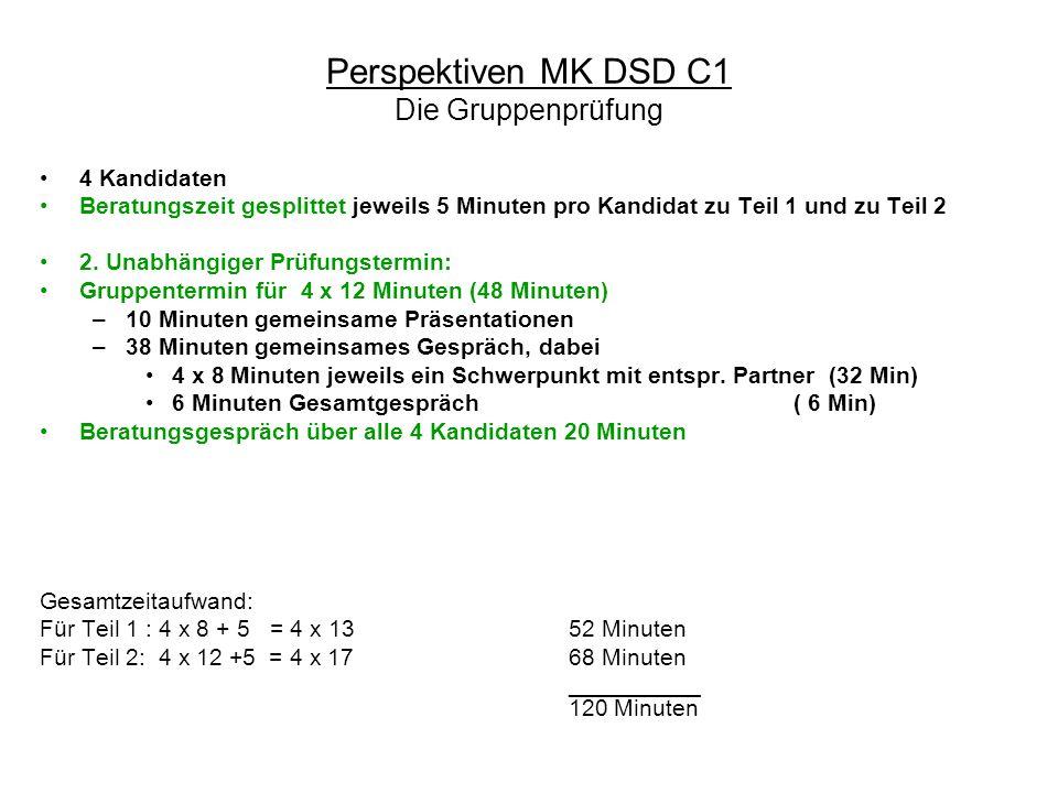 Perspektiven MK DSD C1 Die Gruppenprüfung 4 Kandidaten