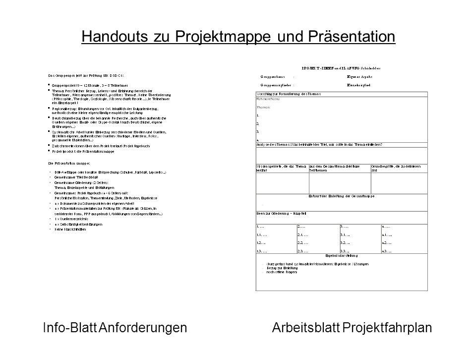 Handouts zu Projektmappe und Präsentation