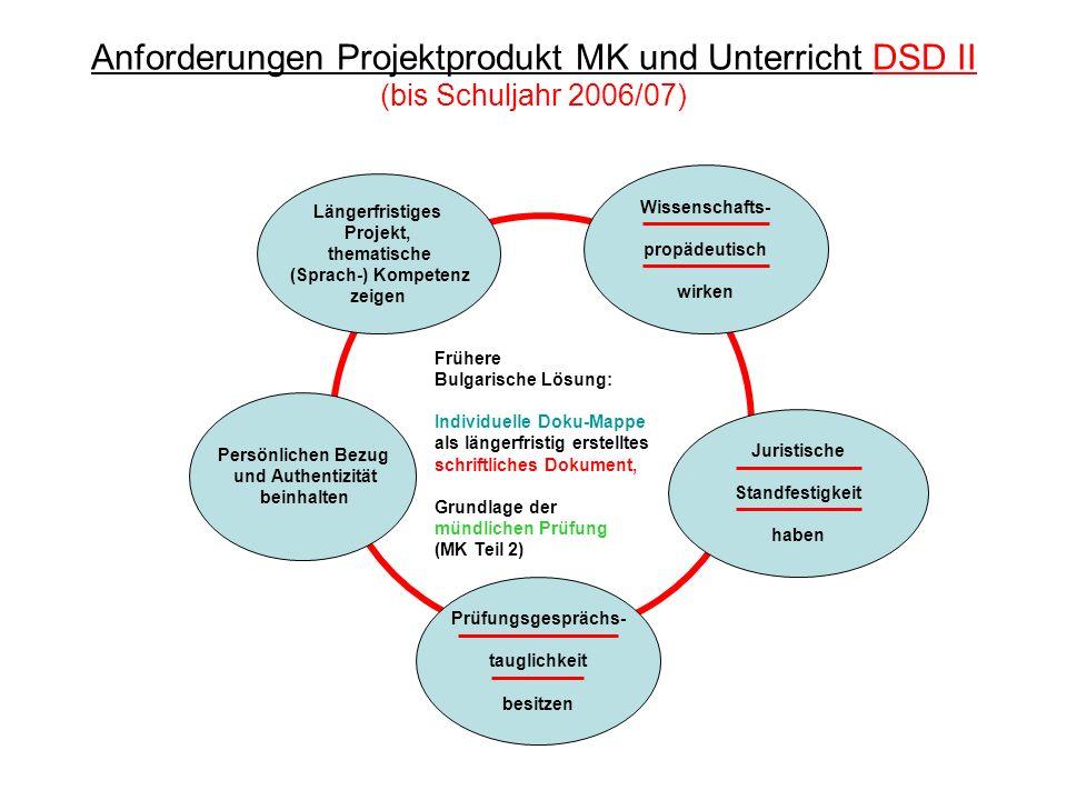 Anforderungen Projektprodukt MK und Unterricht DSD II (bis Schuljahr 2006/07)