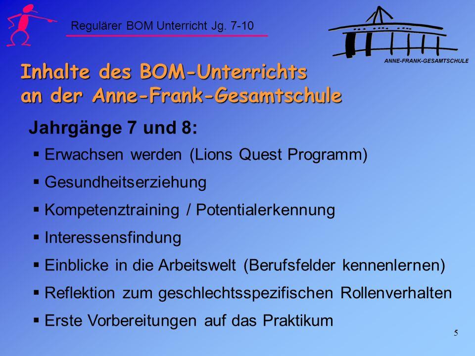 Inhalte des BOM-Unterrichts an der Anne-Frank-Gesamtschule