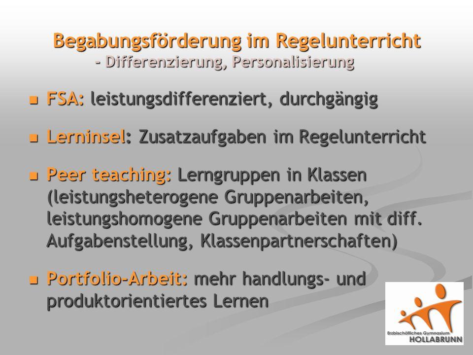 Begabungsförderung im Regelunterricht - Differenzierung, Personalisierung