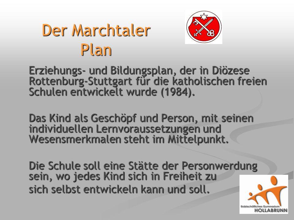 Der Marchtaler Plan Erziehungs- und Bildungsplan, der in Diözese Rottenburg-Stuttgart für die katholischen freien Schulen entwickelt wurde (1984).