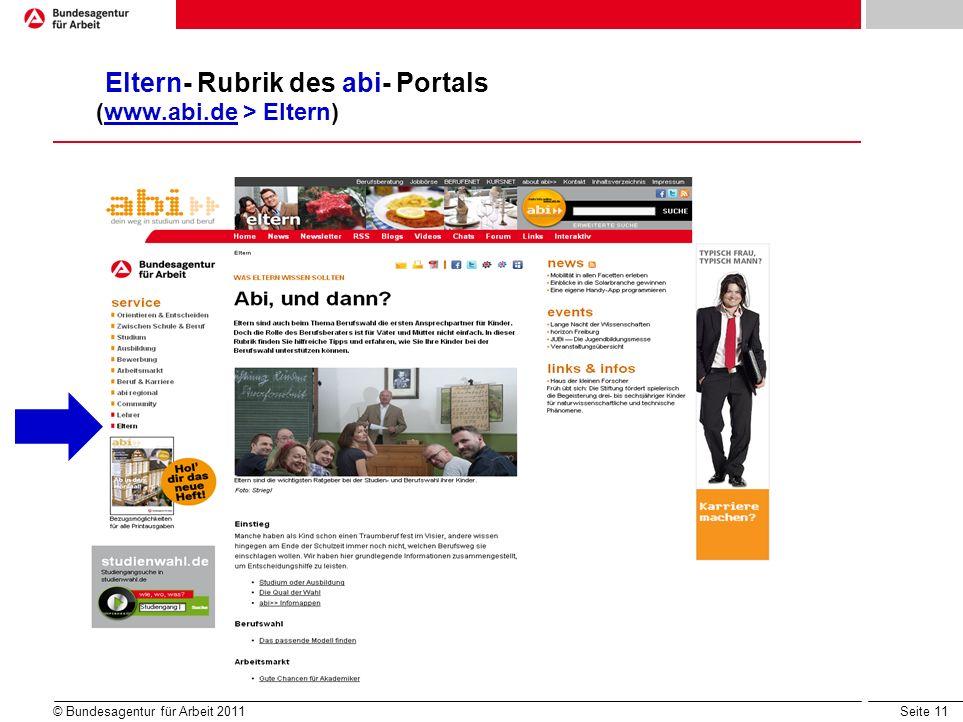 Eltern- Rubrik des abi- Portals (www.abi.de > Eltern)