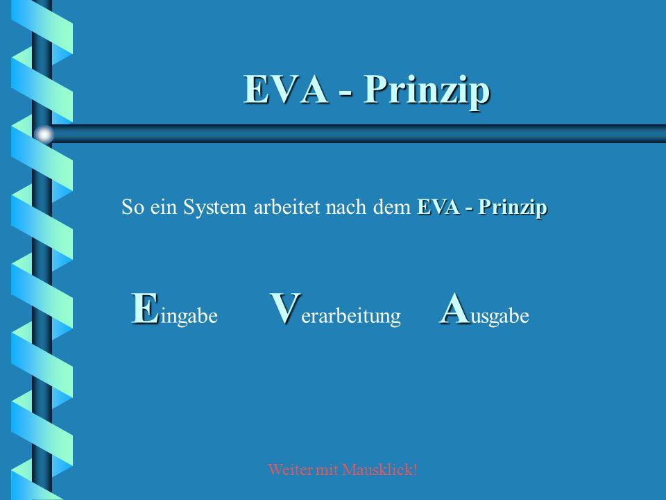 Eingabe Verarbeitung Ausgabe EVA - Prinzip