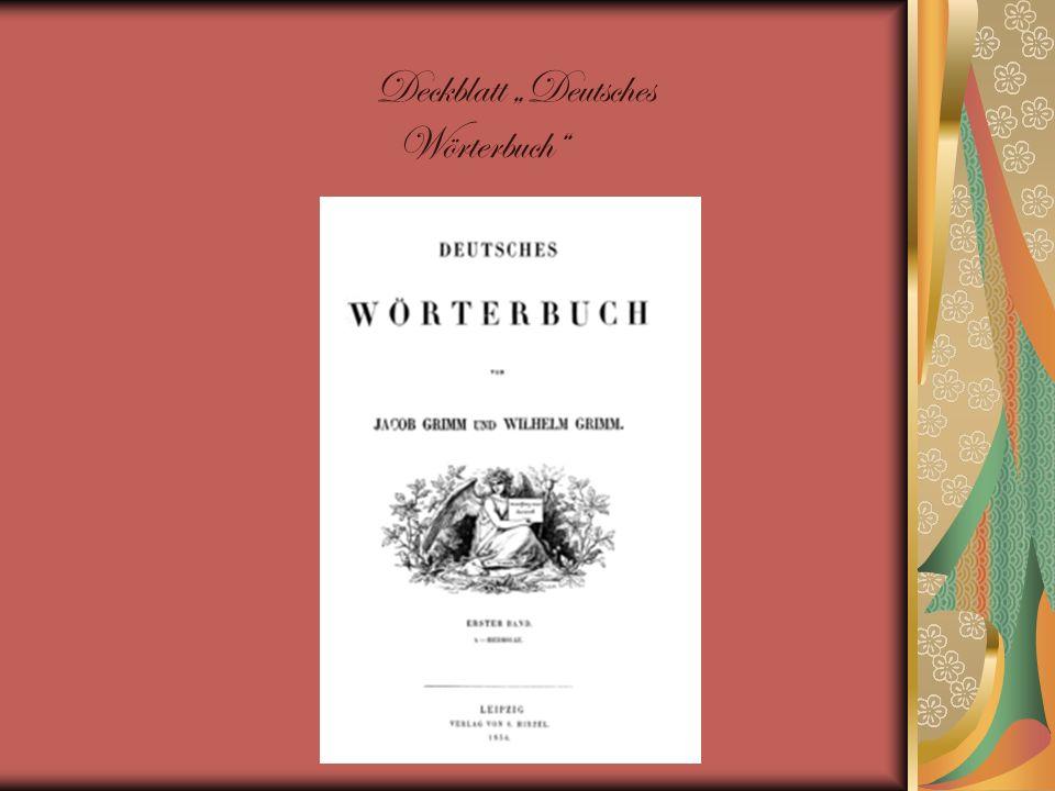 """Deckblatt """"Deutsches Wörterbuch"""