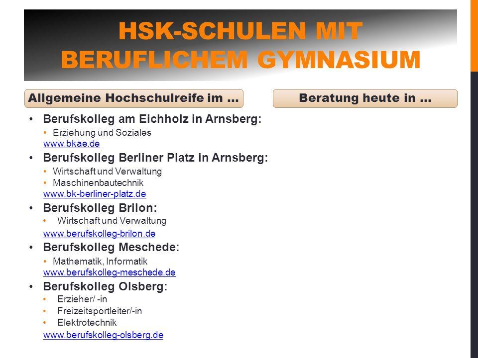 HSK-Schulen mit beruflichem Gymnasium