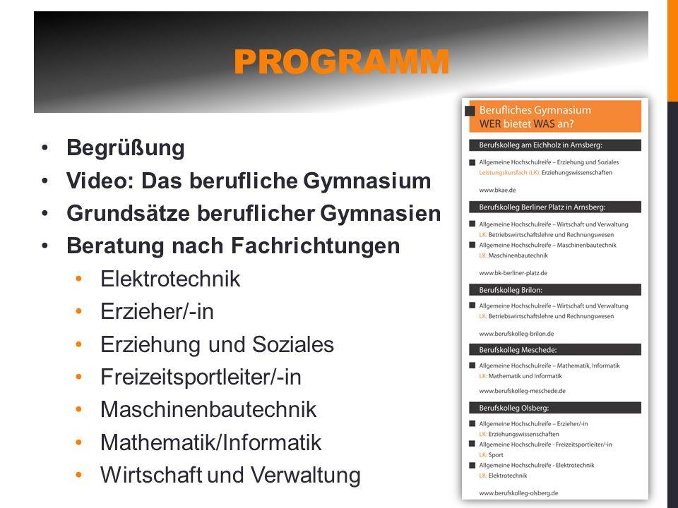 Programm Begrüßung Video: Das berufliche Gymnasium