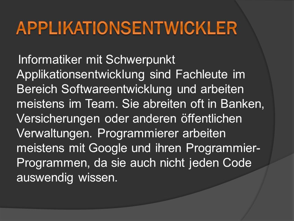 Applikationsentwickler