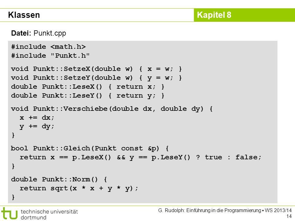 Klassen Datei: Punkt.cpp #include <math.h> #include Punkt.h