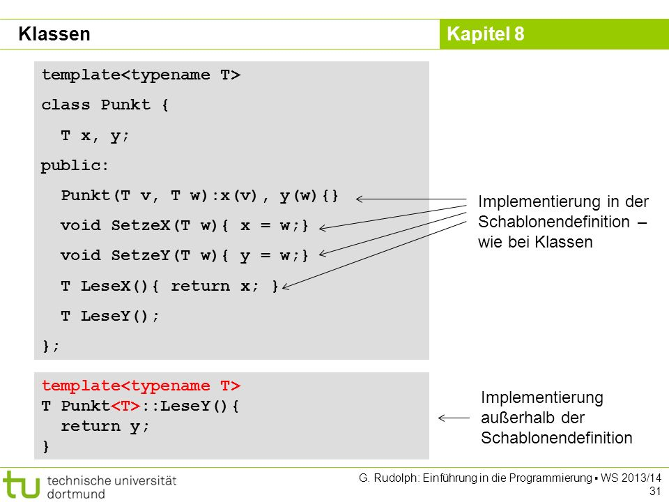 Klassen template<typename T> class Punkt { T x, y; public: