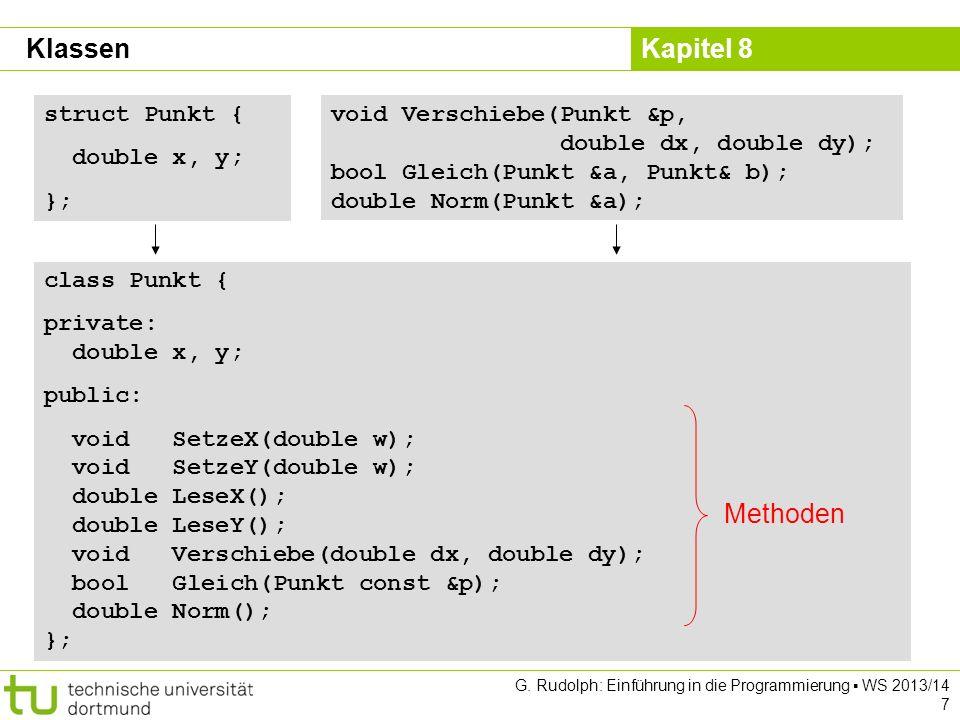 Klassen Methoden struct Punkt { double x, y; };