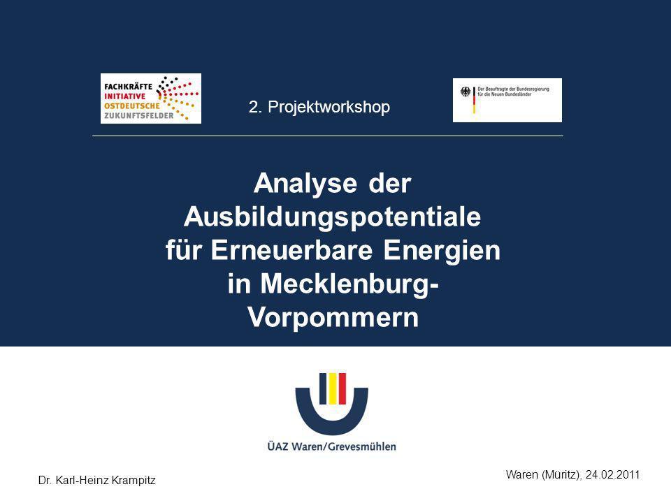 2. Projektworkshop Analyse der Ausbildungspotentiale für Erneuerbare Energien in Mecklenburg-Vorpommern.