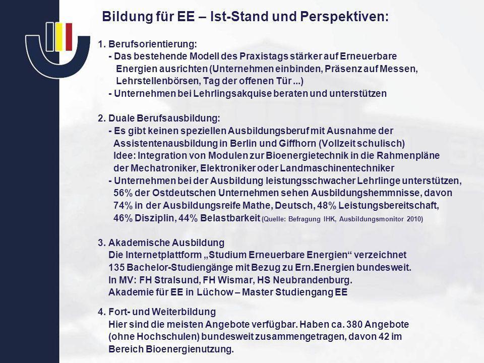 Bildung für EE – Ist-Stand und Perspektiven: