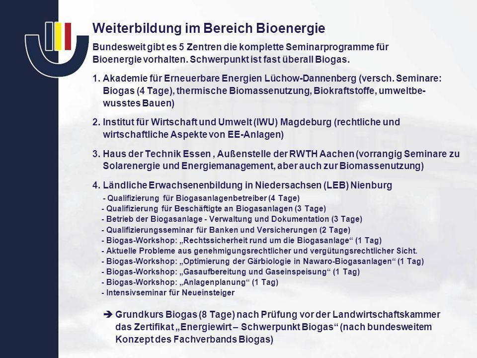 Weiterbildung im Bereich Bioenergie