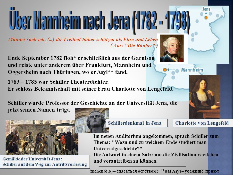 Über Mannheim nach Jena (1782 - 1798)